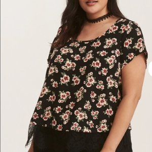 Torrid light Chambray style floral lace lined top